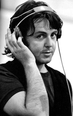 """Paul McCartney in the studio during the recording of """"Abbey Road"""", 1969"""