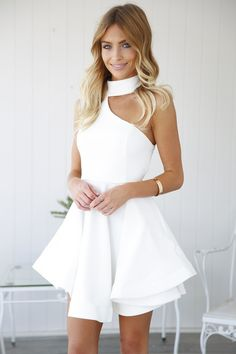 White Choker One Shoulder Attached Organza Dress Classy Coctail Dress, White Cocktail Dress, Classy Dress, White Choker Dress, White Dress, Elegant Dresses, Pretty Dresses, Dresses For Teens, Short Dresses