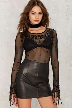 Nasty Gal Good to Go Wild Beaded Fishnet Bodysuit