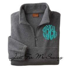 Aqua curlz monogram Monogrammed Halfzip pullover jacket  Gray Size by JustForMeSewing, $39.99
