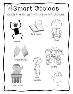 Good Choices VS Bad Choices Cut & Paste Worksheet Set from ...