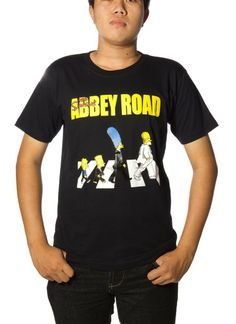 The Simpsons Abbey Road Funny T-Shirt - Black