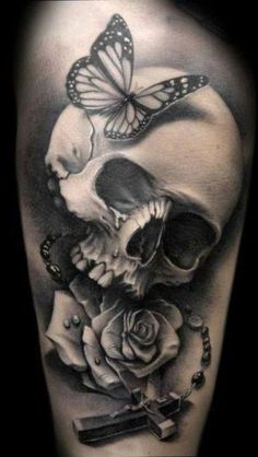 Awesome grey skull with roses, love this ink! #inkedforlife