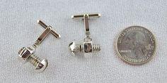 Vintage Men's Silver Cufflinks Nut & Bolt Style with Swivel Base