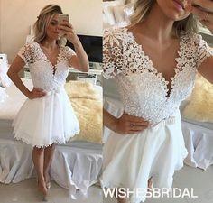 Wishesbridal White V Neck Short #Chiffon A Line #Homecoming Dress Cwb0722
