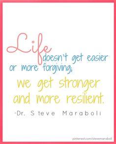 Life doesn't get easier or more forgiving; we get stronger and more resilient - Dr. Steve Maraboli