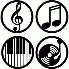 Silhouette Design Store: music circle labels