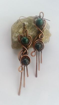 copper earringsCopper wire earrings with natural by Tangledworld