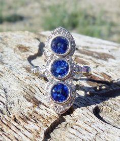 Vintage Antique 3.82ct Blue Sapphire Rose Cut Diamond Unique Engagement Ring Art Deco 1920's 14k White Gold Victorian Revival by DiamondAddiction on Etsy