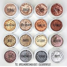 The colors of fall!!!!! EDIT:  I SCREWED UP THE NAMES ON BOTTOM ROW; LEFT TO RIGHT: CRICKET, DECK, FEATHER AND LIBERTY!!!!  Pic by @aprilmorrismua edit by #colourpopcult #colourpopcosmetics #colourpopcultist