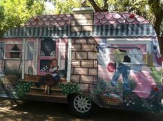 happy camper i painted, curb appeal, diy, painting, Back I painted to tell the story of the client and her grandma who the trailer is named for