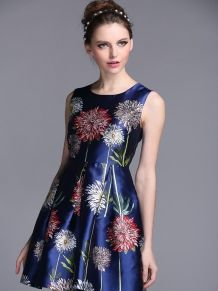 Blue Floral Print Sleeveless Skater Dress