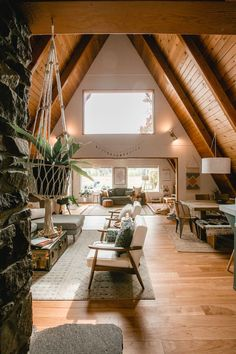 Mountain Cabins Home Tour: The Red A-Frame Cabin in Hood River, Oregon - Sunset - Sunset Magazine Pr Tiny House Cabin, Cabin Homes, Cabin Loft, Cozy House, A Frame House Plans, Cabin Interiors, Cabin Design, Chalet Design, House In The Woods