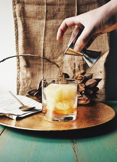 Thanksgiving Rum Old Fashioned With Apple Cider Ice Cubes