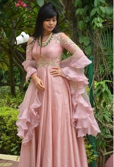 Designer Anarkali Suit of light pink colour with handwork on yoke. To customised such heavy garment log on to www.prasang,in Choli Dress, Anarkali Dress, Saree Gown, Anarkali Suits, Indian Wedding Outfits, Indian Outfits, Indian Designer Outfits, Designer Dresses, Party Wear Dresses