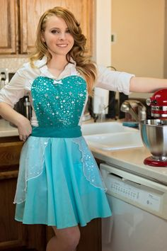 ELSA   apron for women full apron for dress up or baking princess apron by loverdoversclothing on Etsy