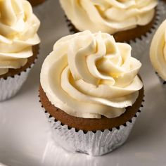 Strong and rich coffee cupcakes are topped with a smooth and creamy condensed milk frosting. Full recipe at Delish.com. Zumbo Desserts, Easy Desserts, Dessert Recipes, Easy Cupcake Recipes, Fun Baking Recipes, Sweet Recipes, Food Cakes, Cupcake Cakes, Cake Decorating Videos