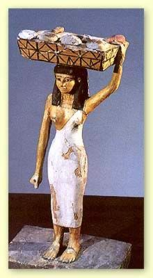Delivering bread in Ancient Egypt. This tomb figure is carrying a tray of breads for the Afterlife.
