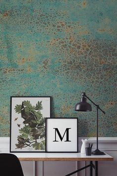 Want something different for your home office spaces? This verdigris wallpaper captures the beauty of imperfection with a rusted copper texture. Wonderful tones of turquoise infuse with bronzes to give your home a totally unique feel.
