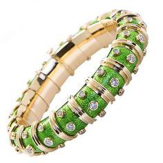 69a3bc534 limegreen.quenalbertini2: Tiffany & Co. Schlumberger Enamel and Diamond  Bangle   1stdibs Tiffany