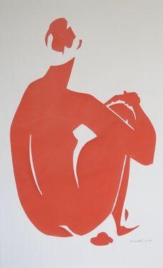 "Saatchi Online Artist Elizabeth Lever; Collage, ""Eva in Orange"" #art"