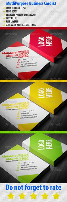 #Multipurpose Business Card 2 - #Corporate #Business #Cards Download here: https://graphicriver.net/item/multipurpose-business-card-2/3576518?ref=alena994