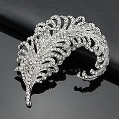 New Arrival clear white feather rhinestone brooch feather broche jewelry luxurious brooche pins fashion broochens for women(China (Mainland)) Jewelry Sets, Jewelry Bracelets, Jewelry Accessories, Jewellery, Crystal Brooch, Vintage Brooches, Swarovski Crystals, Fashion Jewelry, Diamond