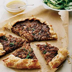 Top Appetizers from Food & Wine  | Free-Form Onion Tart | MyRecipes.com