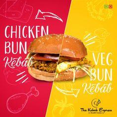 What's A Burger When You Can Have Bun Kebabs ! Get Chicken Bun Kebab Mutton Bun Kebab and Veg Bun Kebab only at The Kebab Express ! Food Web Design, Food Graphic Design, Food Poster Design, E Design, Ads Creative, Creative Advertising, What A Burger, Chicken Buns, Food Banner
