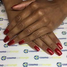 Classic red gelish on flawless natural nails. #cosmospalounge #handpainted #nailart #gelish #justincase