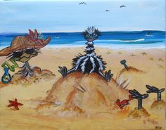 emu at the beach enjoying a day off. acrylic painting