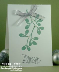 handmade Christmas card from Cat's Ink.Corporated ... inlaid die cut technique ... one layer card .. clean and simply stated elegance ...