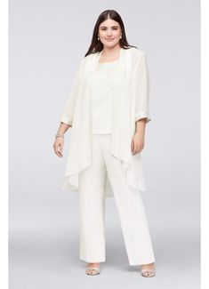 045b7e5ab9c Plus Size Chiffon Pantsuit with High-Low Jacket 25799 Wedding Pantsuit