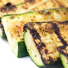 In an effort to quiet the guilt from fatty BBQ food, I made this perfectly grilled zucchini with a little seasoning blend and olive oil.