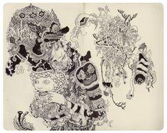 "jamesjeanart: Puppet. Ink on Paper, 9 x 10"", 2013."