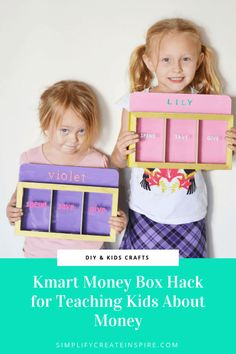 Kmart Kids money box hack & tutorial This simple kids craft idea and Kmart hack is the perfect solution for your Barefoot Investor style of teaching kids about money. Best of all, it's cheap and easy to make! Teaching Money, Teaching Kids, Easy Craft Projects, Diy Crafts For Kids, Craft Ideas, Kids Money Box, Diy Money Box Ideas, Money Saving Box, Saving Tips