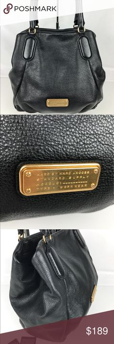"""Marc Jacobs Fran New Q Leather Tote Authentic. Gently Used. Good condition inside and out with some scratches on hardware.  Polished logo plaque hardware is all the added adornment this supple MARC BY MARC JACOBS tote needs to shine.  Interior zip pocket, two interior slip pockets. 17.5""""W x 6.5""""D x 10.75""""H; 6"""" handle drop. RB796  Thank you for your interest!   PLEASE - NO TRADES / NO LOW BALL OFFERS / NO OFFERS IN COMMENTS - USE THE OFFER LINK :-) Marc by Marc Jacobs Bags Totes"""