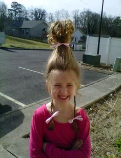 Alyssa's Cindy Lou Who hair for Dr. Seuss Day at school.