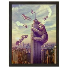 "Slothzilla Art Print. King Kong?! Godzilla?! NO! Slothzilla! This just might be the laziest attack ever! It's amazing that Slothzilla made it up that high without falling asleep... This movie style poster will make all your guests do a double take! Printed on 18"" x 24"" cover stock paper. Rolled for shipment."