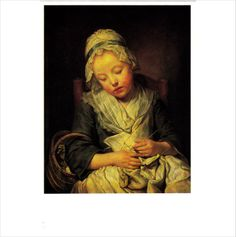 Colour Postcard - Young Knitter Asleep by Jean-Baptiste Greuze