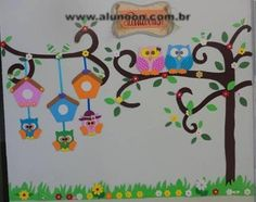 Decoração com Corujas - Educação Infantil - Aluno On Owl Theme Classroom, School Classroom, Fall Crafts, Crafts For Kids, Arts And Crafts, Letter A Crafts, School Decorations, Mothers Day Crafts, Owl Art