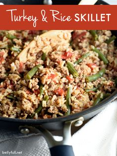 Ground turkey, rice, green beans, tomatoes, and delicious seasonings are combined for a delicious and quick skillet meal!
