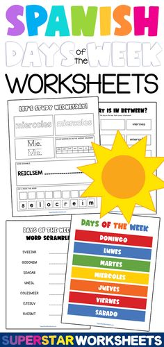 SPANISH Days of the Week Worksheets