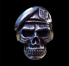 Stainless Steel Special Forces GROM Skull Biker Ring-Any Size-Free Shipping #Handmade #Statement