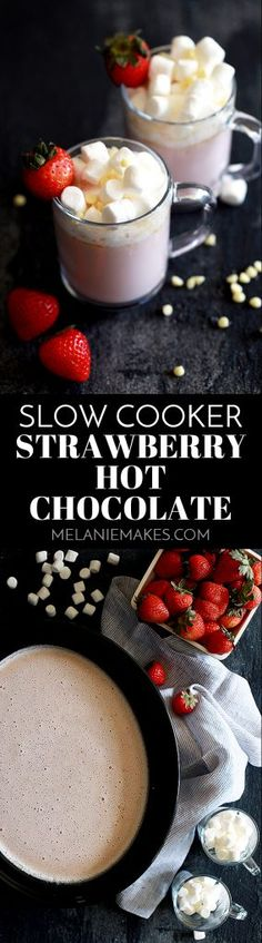 Strawberry milk, cream, sugar, white chocolate chips and frozen strawberries are blended together to create this velvety Slow Cooker Strawberry Hot Chocolate that can not only be made ahead of time, but can also serve a crowd. Top each mug with a mountain of marshmallows, more white chocolate and garnish with a fresh strawberry and you've got yourself a mug of hot chocolate that's sure to be a hit with anyone lucky enough to have a sip.