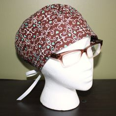 White and Brown Surgical Scrub Hat by FourEyedCreations on Etsy, $15.00