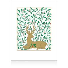 Caspari Embossed Stag with Holly Christmas Cards, Box of 10 (150 CNY) ❤ liked on Polyvore featuring home, home decor and stationery