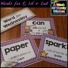 A Week of Wordy Wisdom - Week 2 (words for K, 1st and 2nd)  Grab a FREE word search for each