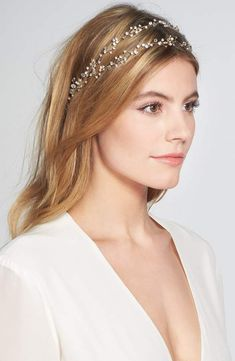 Brides & Hairpins 'Gia' Double Banded Halo Headpiece, Size One Size - Metallic Bobby Pin Hairstyles, Bride Hairstyles, Down Hairstyles, Winter Wedding Hair, Wedding Hair Down, Spring Wedding, Hair Accessories For Women, Wedding Hair Accessories, Lauren Conrad Hair