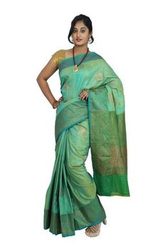 Light Green Colored Banarasi Silk Saree